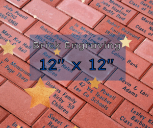 Image of commemorative brick wall - Text says 12 inch by 12 inch brick engraving.
