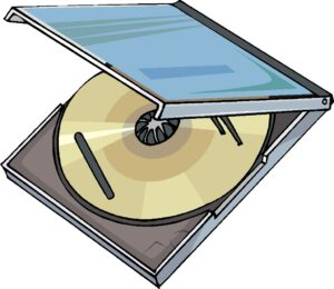 A cartoon image of a CD in a case