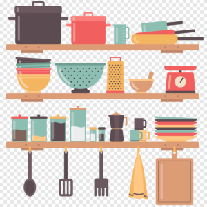 A cartoon image of various kitchen supplies and utensils.