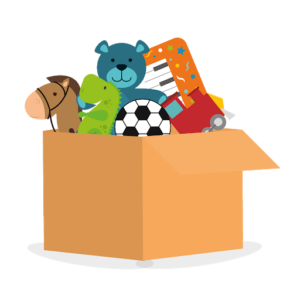 A cartoon image of a box full of children's toys