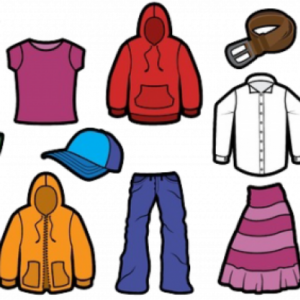 A cartoon image of clothing - T-shirt; hoodie; dress shirt; hat; pants; skirt; belt; jacket