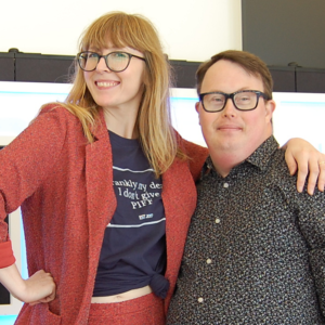 Image is of Ciragh Lyons, creative director, on the left, and a PIFF guest to her right.