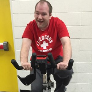 A participant using exercise equipment.