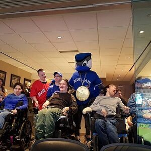 An image of participants with the Blue Jays mascot.