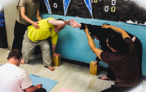 Two Pegasus Participants engaging in a guided yoga exercise.
